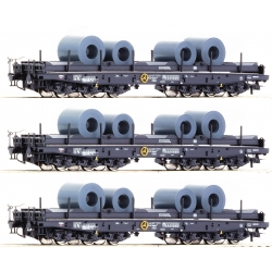 76957 Roco Heavy duty flat wagon, DB, 3 wagons set, HO