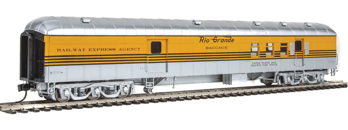 Walthers 920-17403 70' Heavyweight Railway Post Office - Baggage Car - Ready to Run -- Denver & Rio Grande Western(TM) (Arch Roof; 4-Stripe, Silver, Aspen Gold), HO