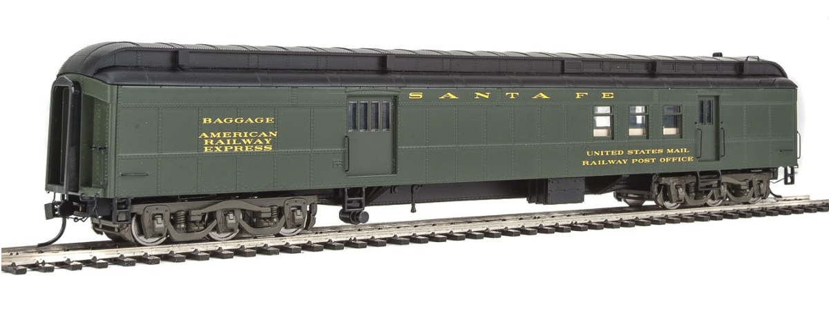 Walthers 920-17401 70' Heavyweight Railway Post Office - Baggage Car - Ready to Run -- Santa Fe (Clerestory Roof, Pullman Green), HO