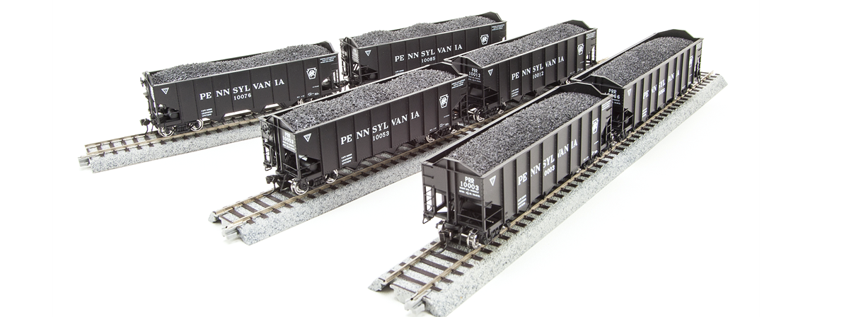 Broadway Limited 4446 N&W H2a Hopper, PRR Lettering, 6-pack O, HO