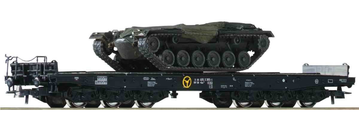 76161 - Roco 2 piece set heavy duty flat wagons, DB, HO