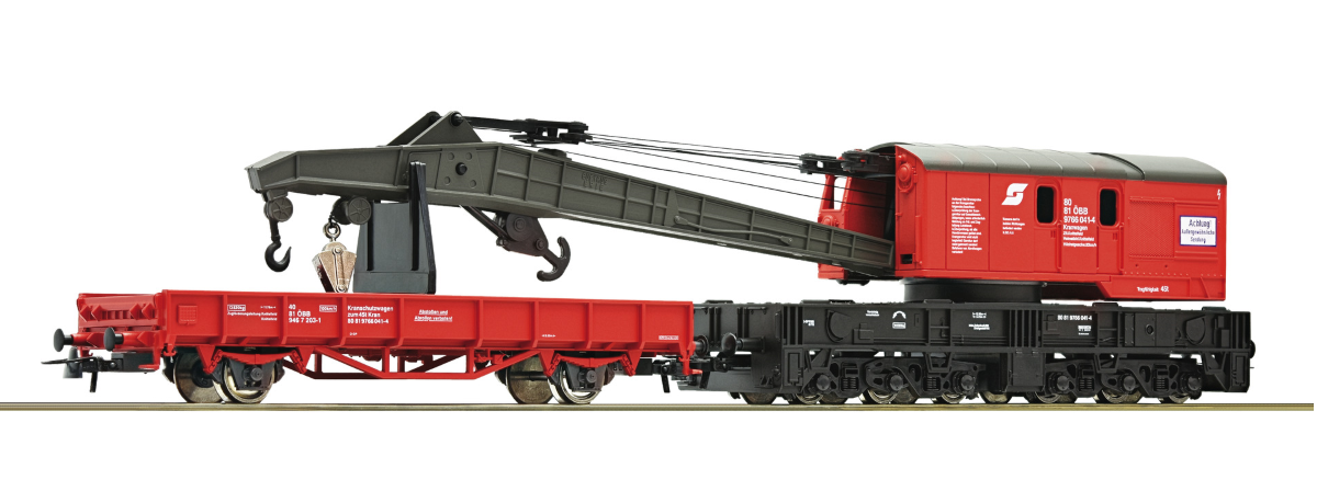 56239 - Roco Crane wagon and barrier wagon, ÖBB, HO