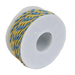 Two Conductor Hookup Wire - 22 Gauge - 30' -- Yellow & Blue Wire Works 222070304