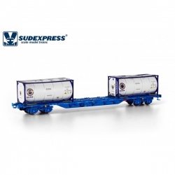 Flat car HO - Intermodal container wagon - Renfe Sgnss - Sudexpressmodells SURE04517