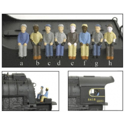 Engineer & Fireman Figures - Ingenieur & Feuerwehrmann Figuren - HO - 4-Pack A --a-b-c-d-- Broadway Limited 1006