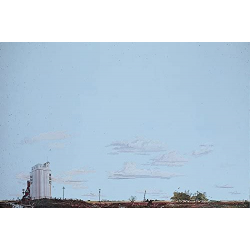 Background Scene - Prairie and Grain Elevator - 24 x 36 in - 60 x 90cm - HO - Instant Horizons - Walthers SceneMaster 949-709
