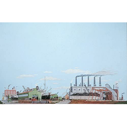 Background Scene - The Docks - 24x36 in - 60x90cm - HO - Instant Horizons - Walthers SceneMaster 949-713
