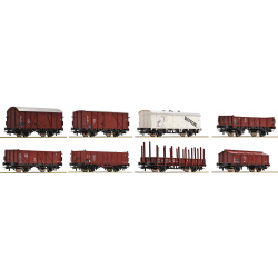 Freight cars 8 pcs set -- Güterwagen 8-teiliges Set -- DB - HO - Roco 44002