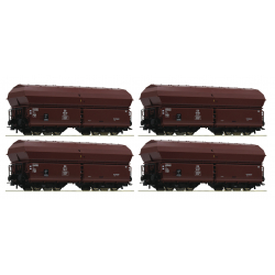 Hoppers - Self unloading hopper wagons DB --Selbstentladewagen -- 4 piece set HO - Roco 67083