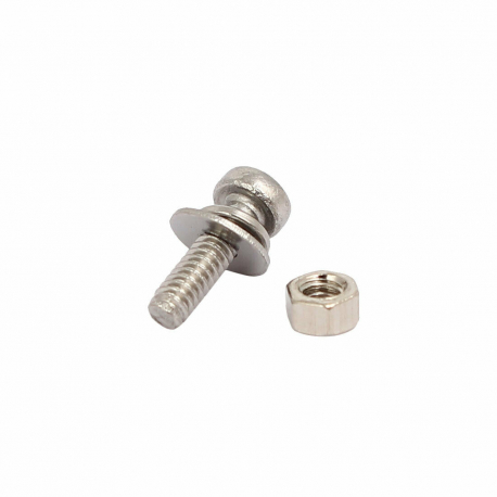 M1.6x6mm 304 Stainless Steel Phillips Pan Head Bolt Screw Nut w Washer 1 set
