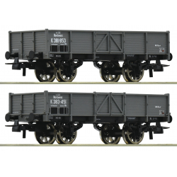 2 piece set gondolas - 2-tlg. Set: Offene Güterwagen kkStB HO 76048