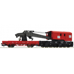 Crane car with barrier car -- Kranwagen mit Schutzwagen -- DB AG - HO - Roco 56240