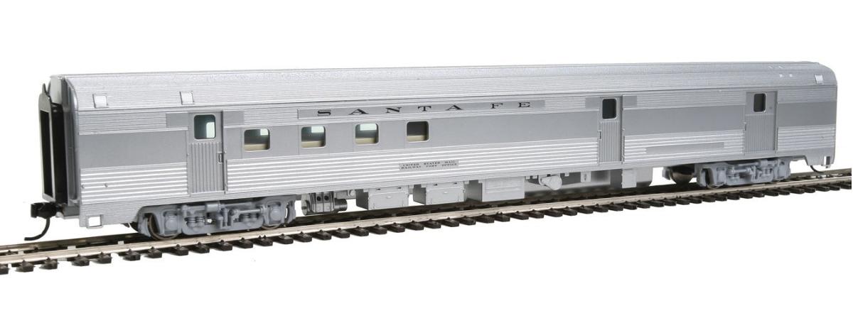 Walthers 910-30302 85' Budd Baggage-Railway Post Office - Ready To Run -- Santa Fe (silver), HO