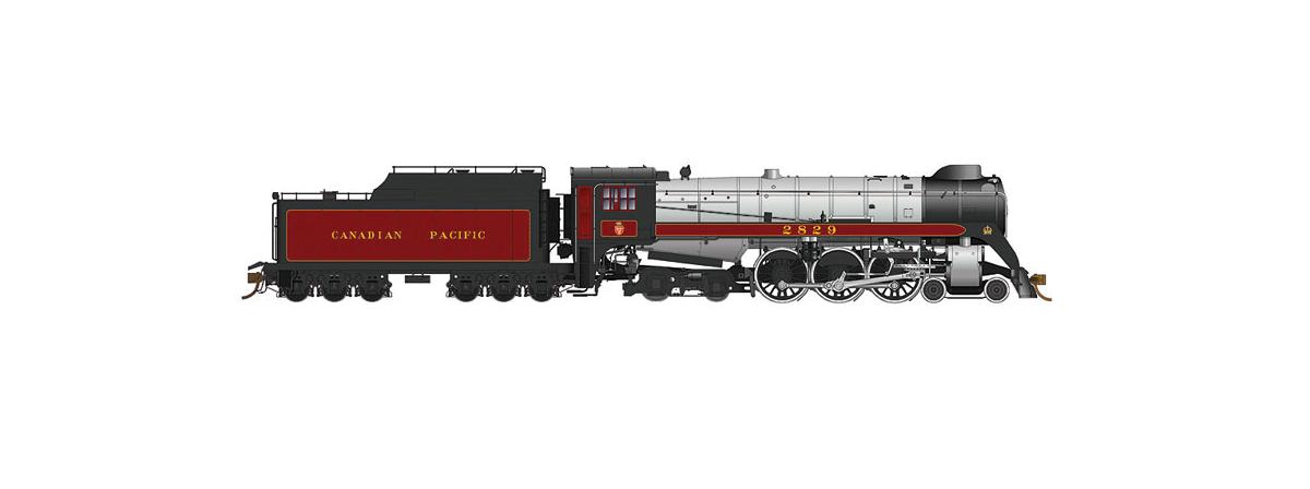 Rapido 600503 Steam Locomotive CP Class H1c 4-6-4 Royal Hudson w/Oil Tender - Sound & DCC -- Canadian Pacific #2829 (maroon, gray, black), HO