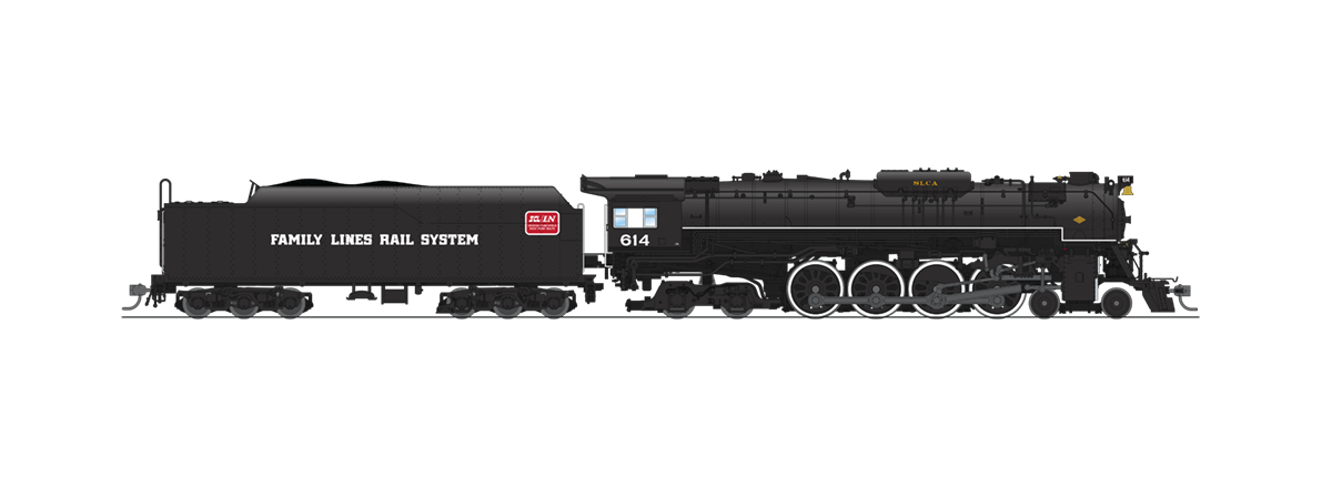 """Broadway Limited 4908 C&O J3a 4-8-4, #614, Excursion Service, """"Family Lines Rail System"""" Lettering, Paragon3 Sound/DC/DCC, Smoke, HO"""