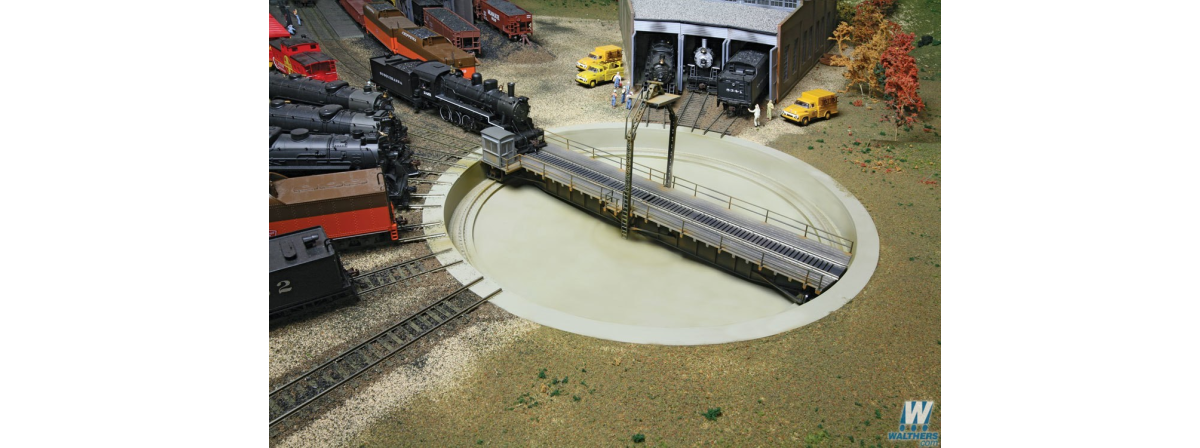 """Walthers 933-2860 Motorized 90' Turntable -- Assembled - 13-3/4"""" 34.9cm Overall Diameter, HO"""